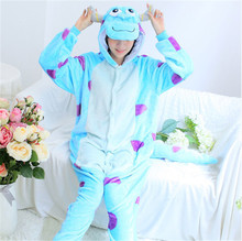 GKWMZG Flannel Adult Cartoon Animal pajama James P. Sullivan Kigurumi Lovely Robe Bathrobe Cosplay Lovers Costume Anime.
