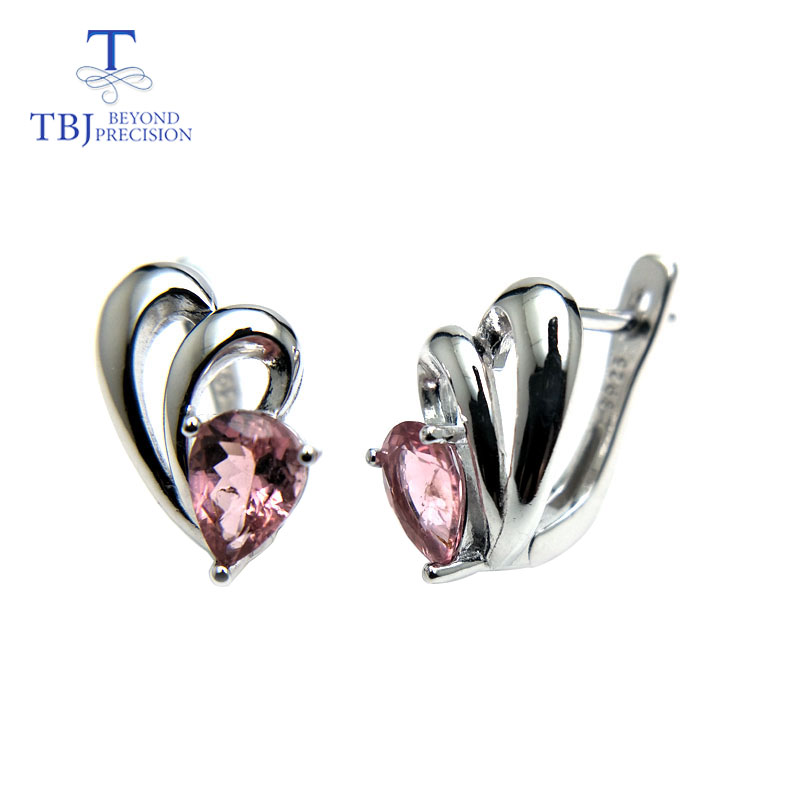 TBJ,Grace small simple earring with natural pink tourmaline gemstone in 925 sterling silver fine jewelry for women as gift boxTBJ,Grace small simple earring with natural pink tourmaline gemstone in 925 sterling silver fine jewelry for women as gift box