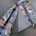Европа весной 2016 новые женские тяжелые блестки отверстие тонкие ноги персонажа из мультфильма джинсы