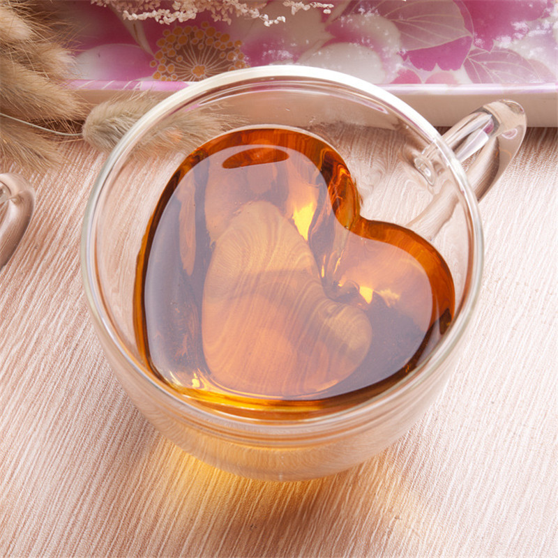 Heart Love Shaped Double Wall Glass Cup  Resistant Kungfu Tea Cup Milk Lemon Juice Cup Drinkware Lover Coffee Cups Mug Gift3