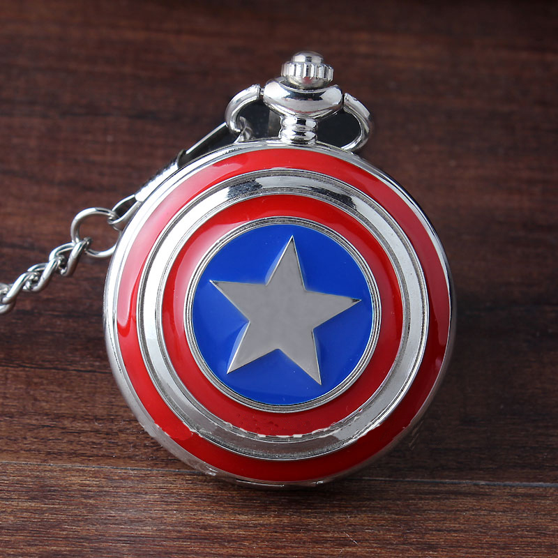 Жаңа сән Sliver Super Hero Captain America Icon Кварц Pocket Watch Құлпытай Ожерелье Фоб Chain For Men Ерлер Әйелдер Сыйлықтар