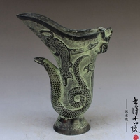 China old Bronze statue Snake type Wine Glass copper statue