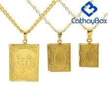Dom Ramadan Alcorão Livro Medalhão Colar de Ouro Tone Deus Islâmico Allah Alcorão Charme Jóias Pingente Para Muçulmano Venda Quente