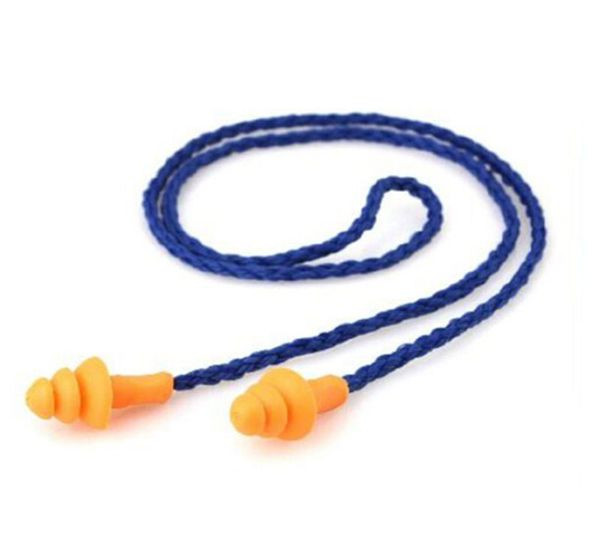 10Pcs Soft Silicone Corded Ear Plugs Reusable Hearing Protection Earplugs WA