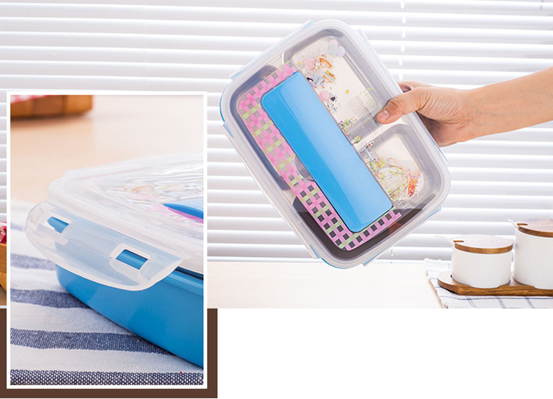 304 Stainless Steel Cartoon Bento Box For kids School Portable Cute Plastic Lunch Boxs Japanese Style Sushi Food Containers 9