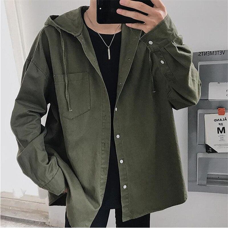 Mode Stijl New Fashion Mens Casual Legergroen Shirt Jas Mannelijke Losse Hooded Shirt Man Lange Mouwen Oversized Trenchcoat Ds50271
