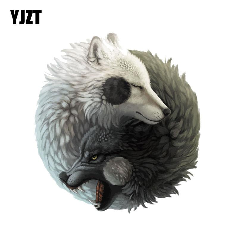 YJZT  12.2CM*13.3CM Personality Yin Yang Wolf Decal PVC  Motorcycle Car Sticker 11-00504
