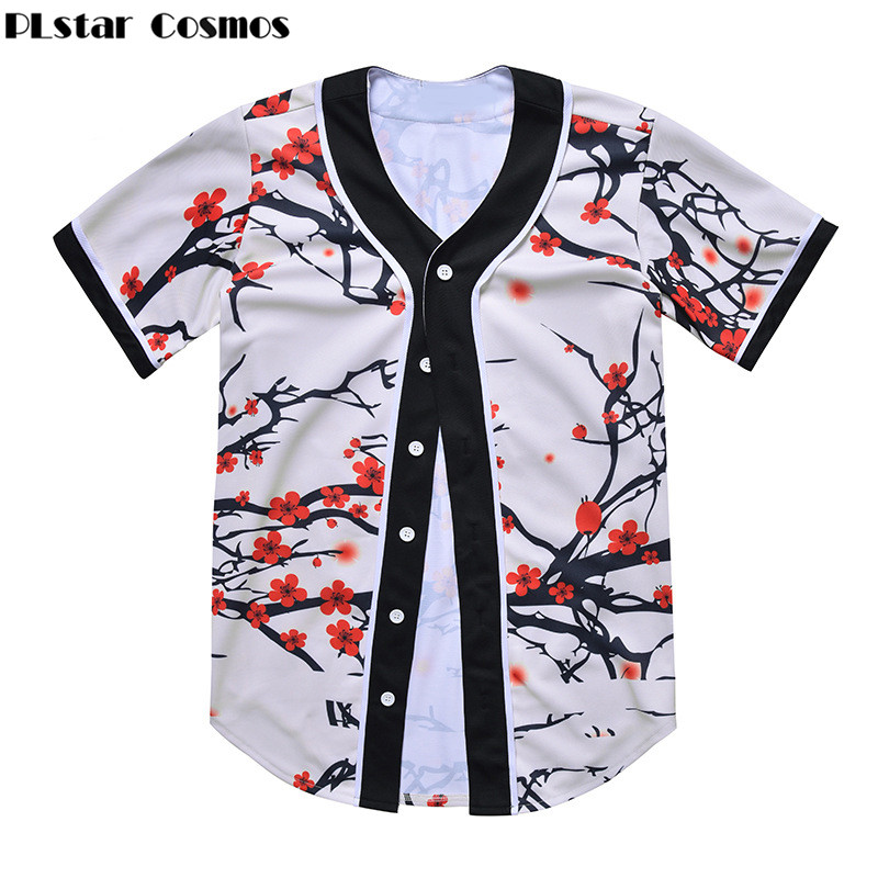 PLstar Cosmos Mens Buttons Homme 3D Shirt Streetwear Tees Shirts Hip Hop colorful  Chill Flower Custom Made Baseball t shirt