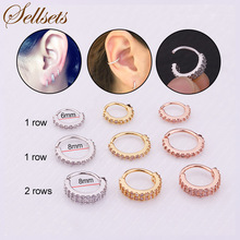 Sellsets 1 Row And 2 Rows CZ Helix Piercing Ear Tragus Charming Earring Silver And Gold Colour Hoop Nose Ring 2018 New Arrival