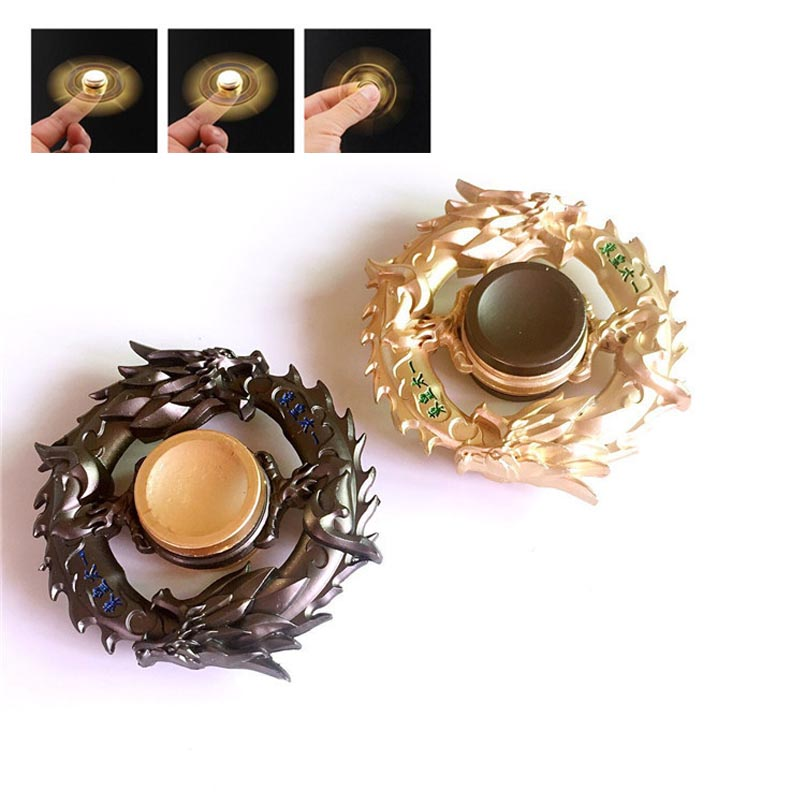 New Golden Dragon Metal Fidget Spinner Zinc Alloy Gyro Rotary EDC Hand Spinner For Autism And ADHD Focus Stress Finger Tip Toy