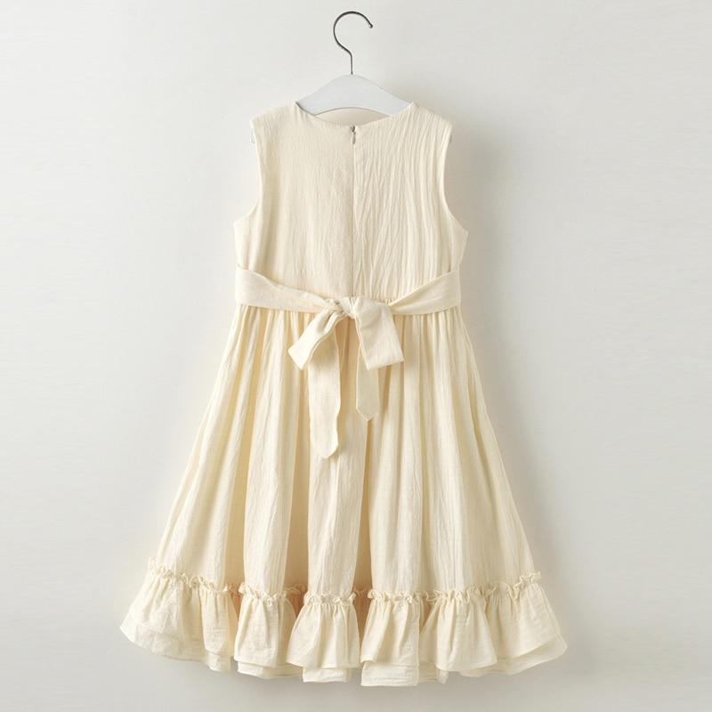 2019 verano nueva niña de lino de algodón vestido largo sin mangas - Ropa de ninos - foto 4