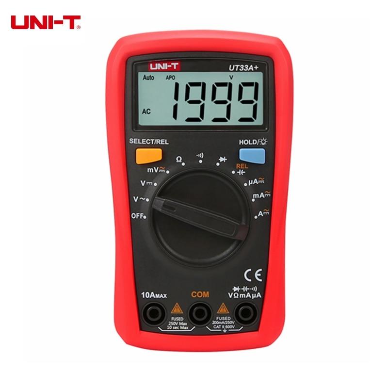 UNI-T UT33A+ UT33B+ UT33C+ UT33D+ Digital Multimeter Auto Range Palm Size AC DC Voltmeter Ammeter Resistance Capatitance Tester цена