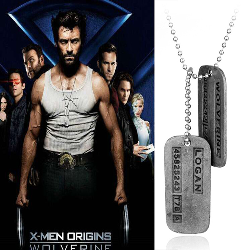 Movie Wolverine X-Men Origins Cosplay Costumes Necklace Zinc Alloy Small Gift Ornaments Jewelry Props Halloween Party Men boys