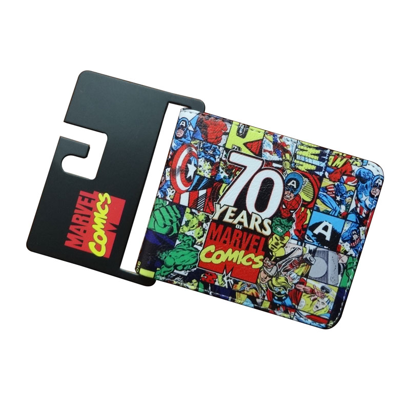 New 70 Years Marvel Comics Wallets Cartoon Anime Purse Card Money Bags carteira masculina Men Women Casual Leather Short Wallet comics dc marvel dollar price wallets men women super hero anime purse creative gift fashion leather bags carteira masculina