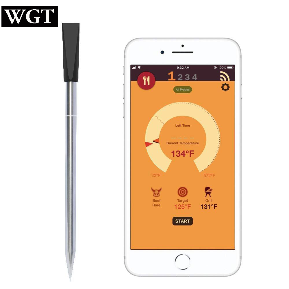 WGT Digital Probe Meat Thermometer Kitchen Wireless Cooking BBQ Food Thermometer Bluetooth Oven Grill Thermometer ProbeWGT Digital Probe Meat Thermometer Kitchen Wireless Cooking BBQ Food Thermometer Bluetooth Oven Grill Thermometer Probe