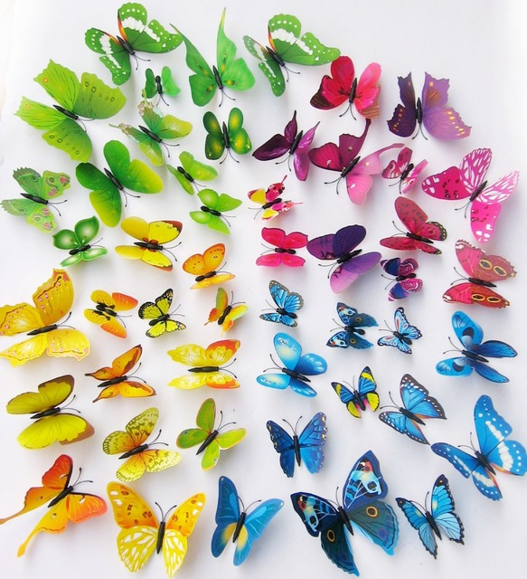 12pcs 3D Butterfly Wall Stickers Butterflies Decors Art DIY Decorations Wall  Paper Butterfly Stickers Gift For Part 84