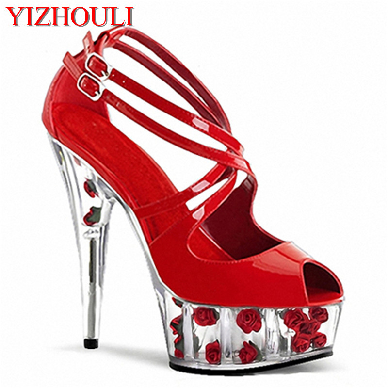 Faye wong stage 15 cm super high heels Thick bottom sandals Diamond Roman black shoes цена и фото