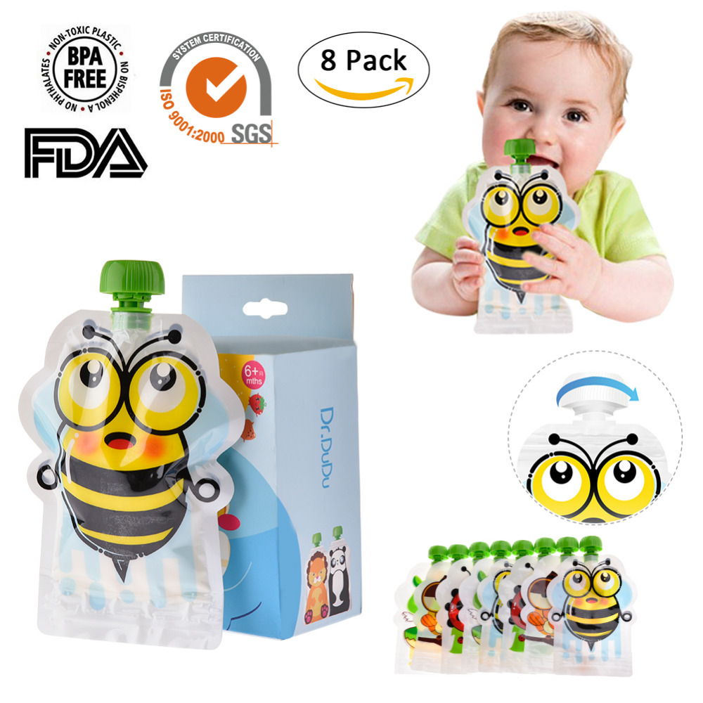 8PCS Breast Milk Bag BPA-Free Reusable Sealed Complementary Food Pouch Storage Bag Homemade Puree Pulp 148ml Double Zipper