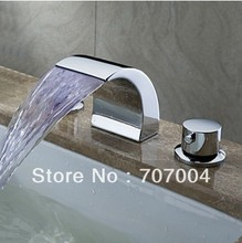 Deck Mount LED Waterfall Widespread Bathroom Sink Faucet Basin Mixer Tap Chrome Finish 2 handles