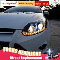 2 шт. светодиодный фары для Ford Focus 2012 2014 светодиодный Автомобильные фары ангельские глазки комплект ксеноновых фар, Высокопрочная конструкц