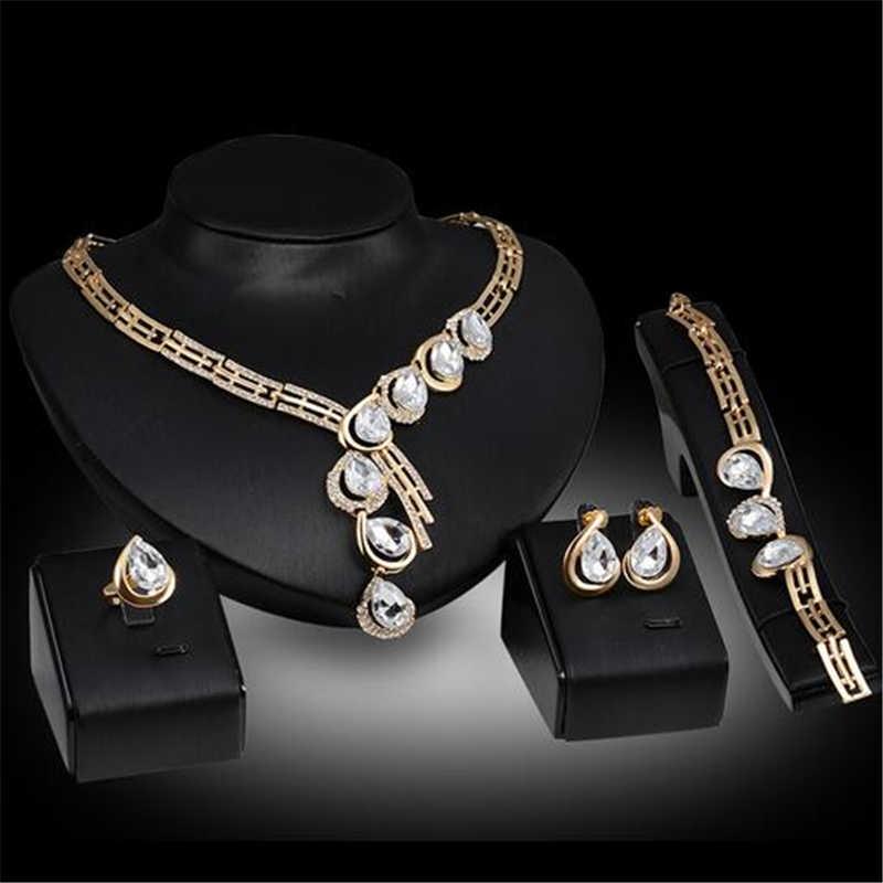 Großhandel 2019 Neue Exquisite Dubai Gold Schmuck Set Luxus Big Nigerian Hochzeit Afrikanische Perlen Schmuck Set Kostüm Design