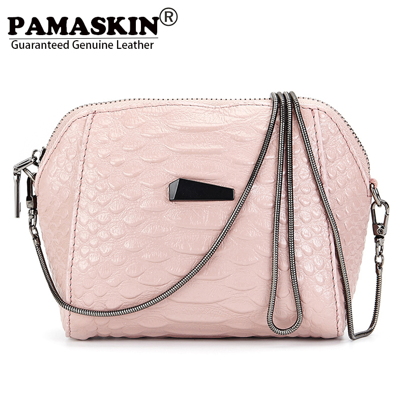 PAMASKIN Brand Premium Genuine Leather Women Small Messenger Bags 2017 Latest Hot Mobile <font><b>Phone</b></font> Bag Ladies Day Clutch Coin Purses