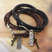 Black Leather Man Masculine Cross Bracelet 2019 Sale Arrival Wedding Allergy Free Christmas Gift Brown Party 1PC Exquisite(China)