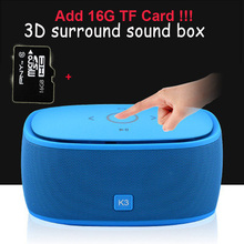 K3 Mini Bluetooth subwoofer support MP3 TF Card USB portable audio playback music mobile phone subwoofer+16GTF Card