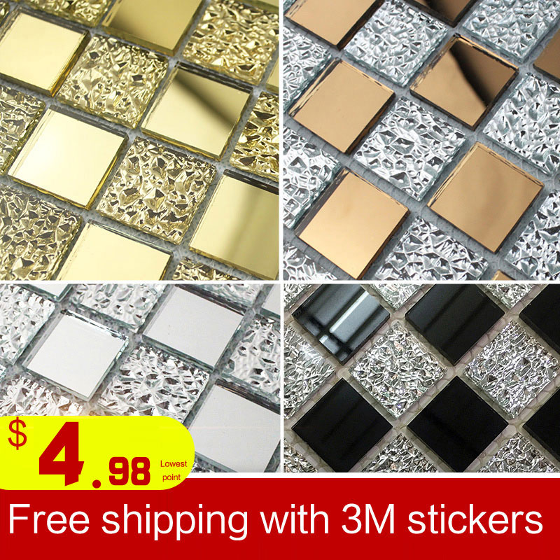 Glass mosaic tile adhesive mirror gold silver black white ash shop decoration material living room background wall