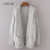 COLROVIE Grey Solid Pocket Drop Shoulder Winter Knitted Long Women Cardigan Sweater 2018 Autumn Ladies Sweaters Womens Clothing