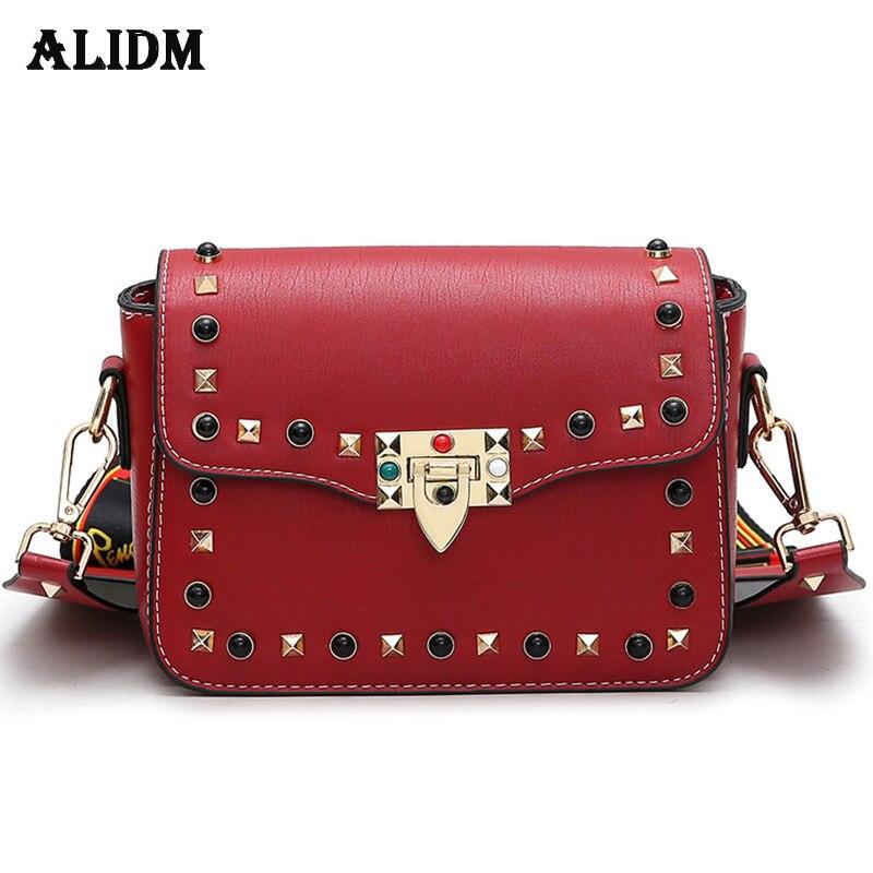 2018 Small Flap PU Leather Women Messenger Bag Colorful Strap Crossbody Bags Women Designer Rivet Handbags Ladies Shoulder Bag