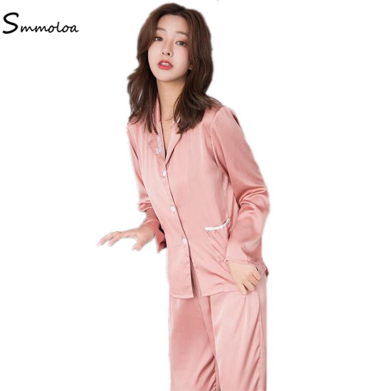 Smmoloa Sexy Silk Cotton Pajamas Print Home Wear Silk Pijamas Long Sleeve New