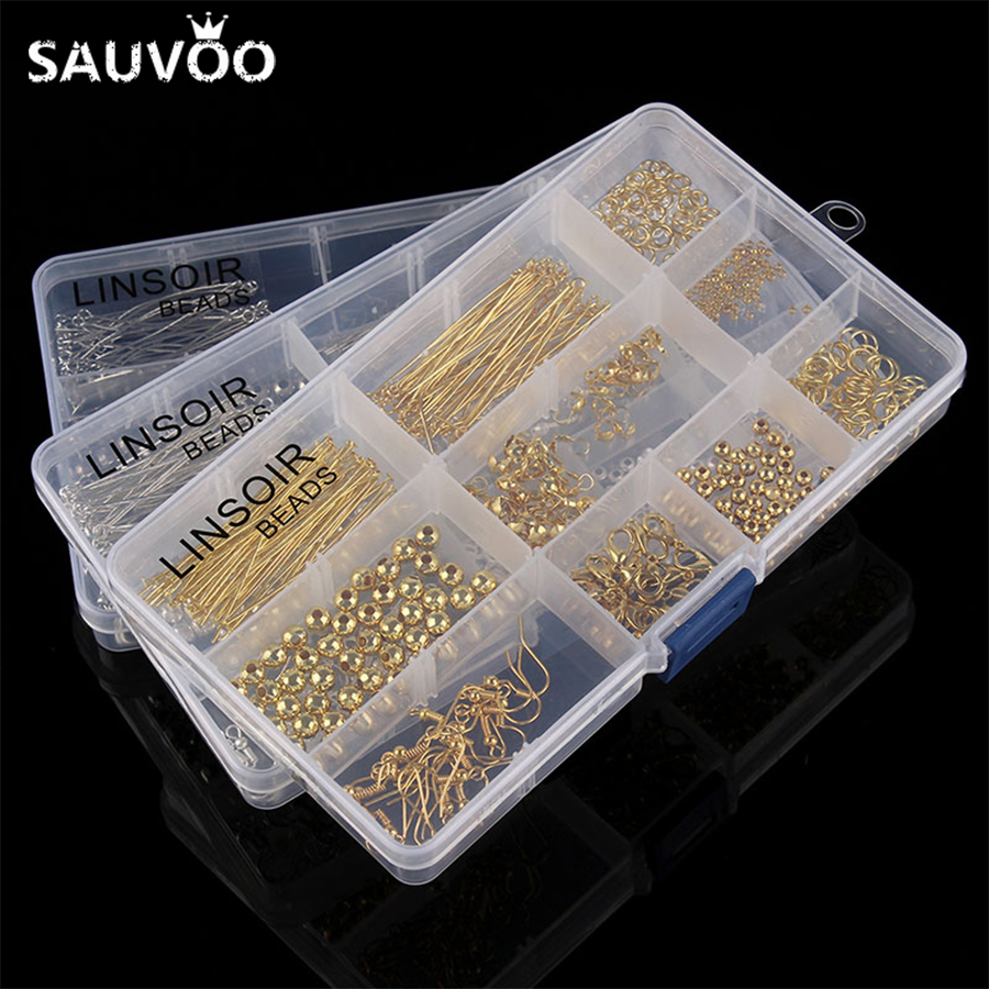 купить 1 Box only Jewellery Findings Accessories Kit Set Spacer Beads Caps Jump Rings Ear Hook Clasps Pins for DIY Jewelry Making F2972 по цене 310.48 рублей