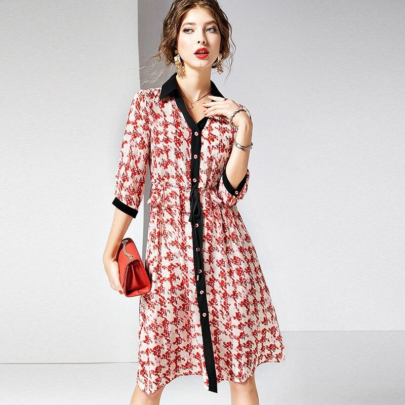 Pour Femmes Cravate minute Rouge over 2019 Longe R10669 Nouvelle Turn Robe Vêtements Tempérament Soie Sept Imprimée Col Été Manches OxtIwRqR