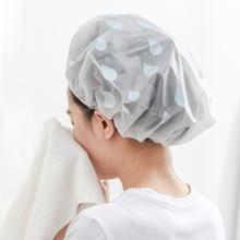 3Pcs Bath Cap Water Droplets Waterproof Shower Cap Saunas Hat Hair