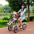Мать и Ребенок Двойных Мест Трехколесные Велосипеды, складной Прогулочной Коляски Младенца, родительский Автомобиль, детская Коляска Велосипед, Складной Велосипед для Матери и Ребенка