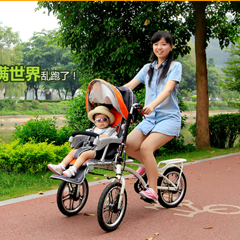 Mother & Baby Double Seats Tricycles, Folding Baby Stroller, Parental Car, Baby Stroller Bike,Folding Bike for Mother & Baby