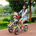 Mother & Baby Triciclos Assentos Duplos, Folding Carrinho de Bebê, Carro dos pais, Carrinho de bebê Bicicleta, Bicicleta Dobrável para Mother & Baby