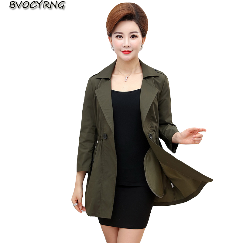 New Middle-aged Womens Windbreaker Spring and Autumn Fashion Coat Female Leisure Jacket Tops Ladies Plus Size Lapel Outerwear