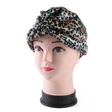 Winfox Fashion Animal Muslim Turban Head Coverings Wrap Cap Leopard Cancer Chemo Hat Beanie Women Female