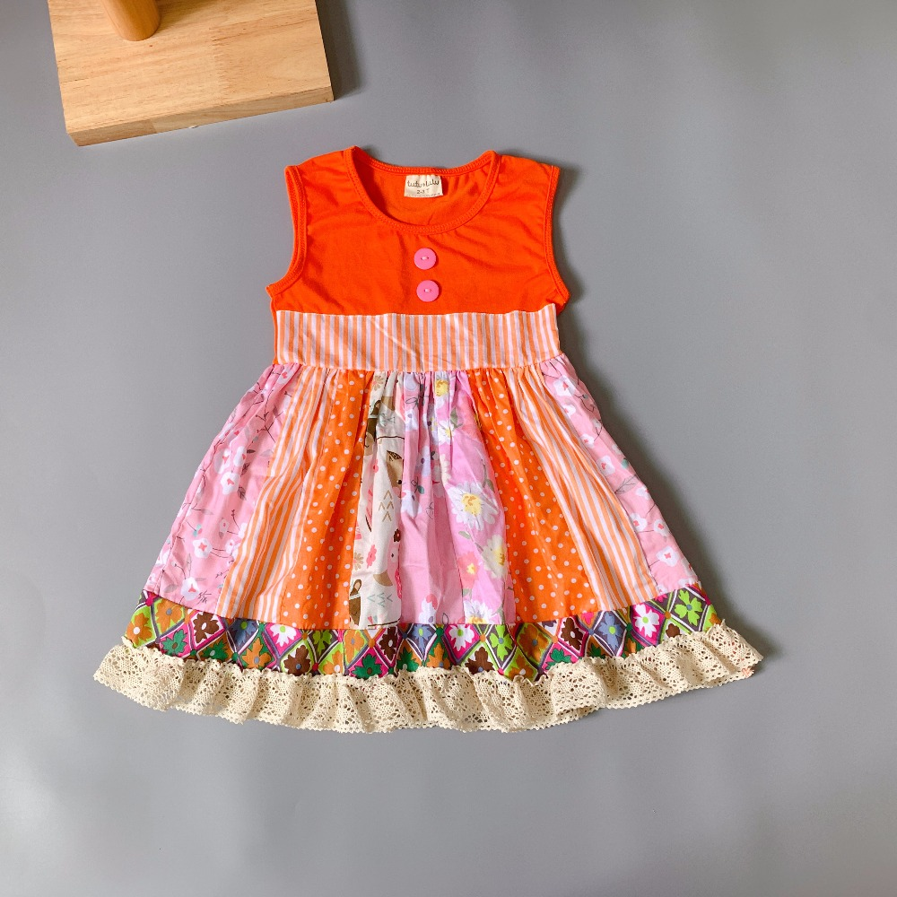 100%cotton Fall with geometry Ruffle Baby Girls orange Dress Apparel Accessory for present100%cotton Fall with geometry Ruffle Baby Girls orange Dress Apparel Accessory for present