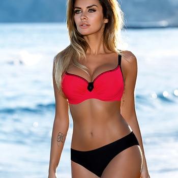 ESSV Swimsuit Red Push Up Bikini Set Plus Size Women Swimwear Sexy Padded Adjustable Strap Bordered Bikinis Summer Bathing Suit