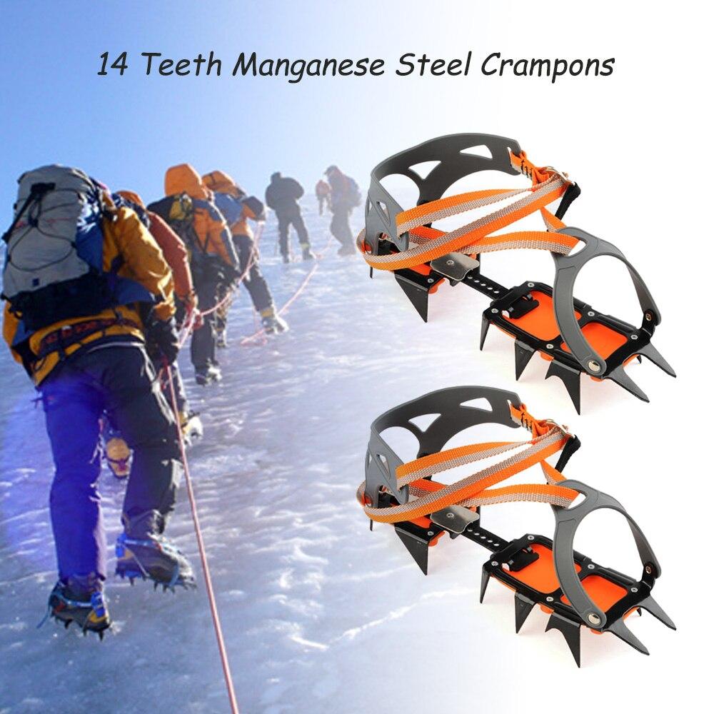 Crampons antidérapants en acier au manganèse 14 points pinces à chaussures d'escalade sur glace d'hiver Crampons de neige accessoires d'escalade