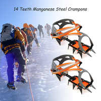 Anti-Skid 14-point Crampons Manganese Steel Winter Ice Climbing Shoe Grippers Snow Crampon Cleats Overshoes Climbing Accessories