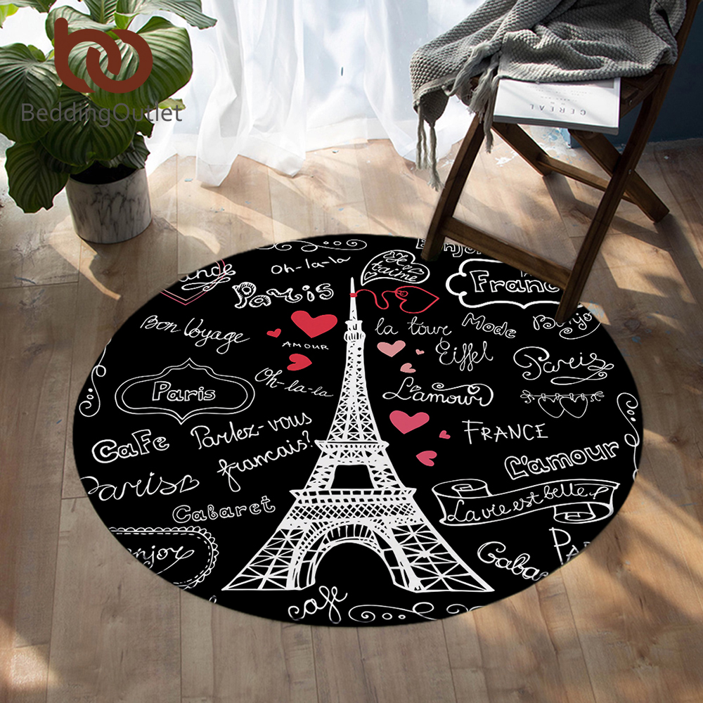 Us 9 9 35 Off Beddingoutlet France Paris Tower Round Carpets Letters Print Living Room Area Rug Black And White Floor Mat Kids Play Mat 100cm In
