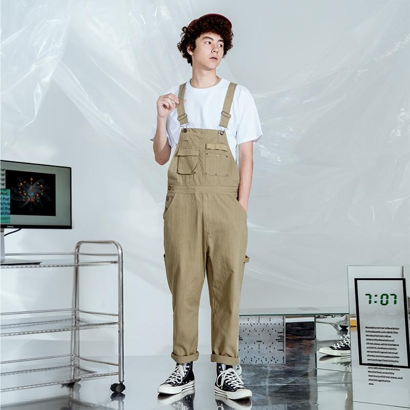 2019 Popular logo hip-hop overalls men's art style original small straight casual pants.