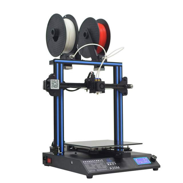 Geeetech A20M Mix-color Fast Assembly 3D Printer with Filament Fetector and  Break-Resuming Capability 255*255*255 Print Volume