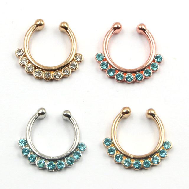 10pcs Goth punk Medical septum Piercing blue crystal nose gold