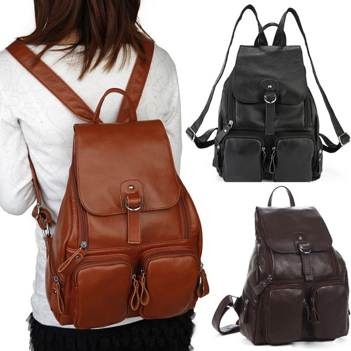 Hot!!!100% cowhide genuine Leather backpack for women ladies ...
