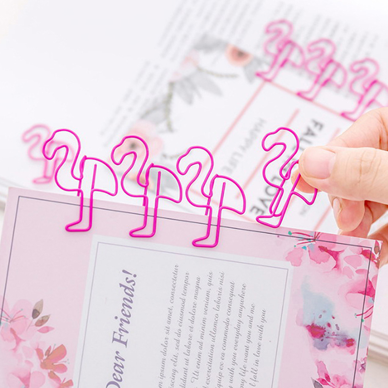 12pcs/lot Pink Flamingo Bookmark Planner Paper Clip Metal Material Bookmarks For Book Stationery School Office Supplies